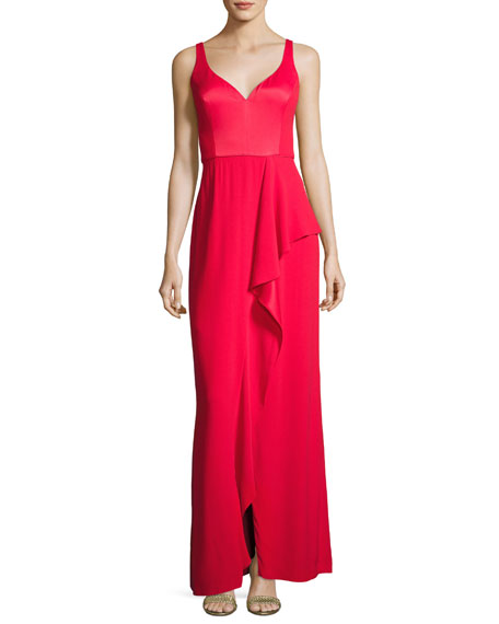 Aidan Mattox Sleeveless Draped Stretch Crepe Gown, Red