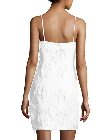 Frayed Jacquard Mini Slip Dress, White