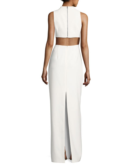 Cutout Stretch Crepe Column Gown, Ivory