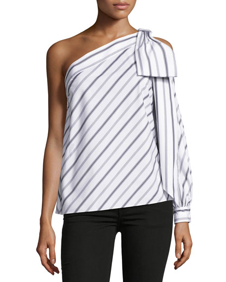 Milly Nina One-Shoulder Striped Shirting Top, White