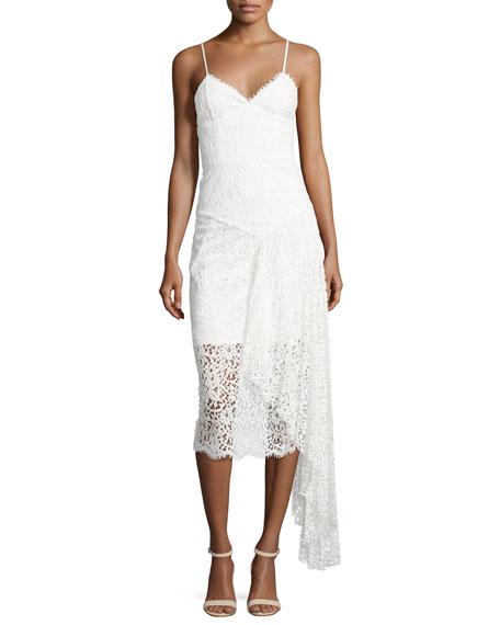 Gisele Lace Midi Dress w/ Side Cascade, White