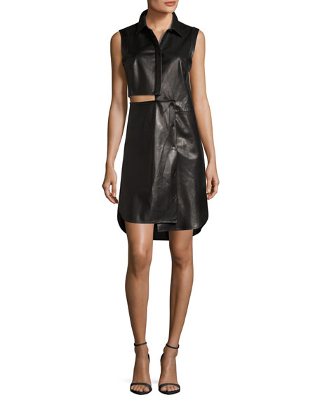 Milly Lightweight Leather Cutout Shirtdress