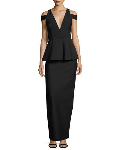 Claudia Stretch Crepe Cold-Shoulder Peplum Gown, Black