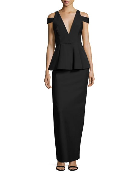 Milly Claudia Stretch Crepe Cold-Shoulder Peplum Gown, Black