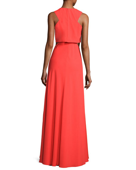 Sleeveless Crepe Cutout Popover Gown, Tangerine