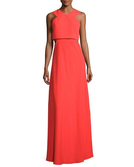 Jill Jill Stuart Sleeveless Crepe Cutout Popover Gown,