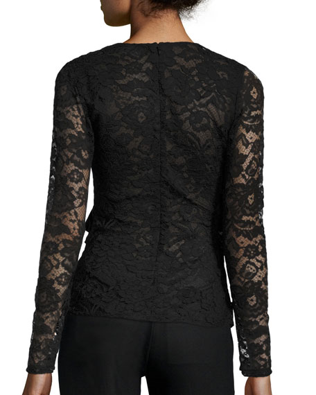 Moira Long-Sleeve Lace Wrap Top