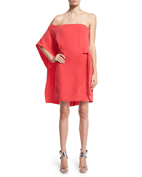 Halston Heritage Asymmetric Off-Shoulder Dress, Poppy
