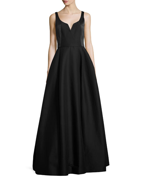 Sleeveless Notched Faille Ball Gown, Black