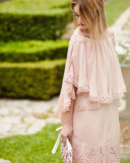 Veronica Off-the-Shoulder Silk Popover Dress
