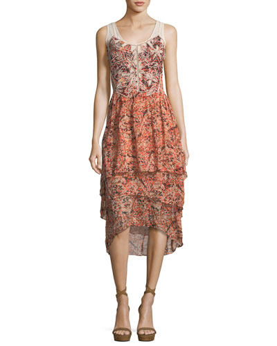 Jolene Floral-Print Layered High-Low Dress, Petal Multi