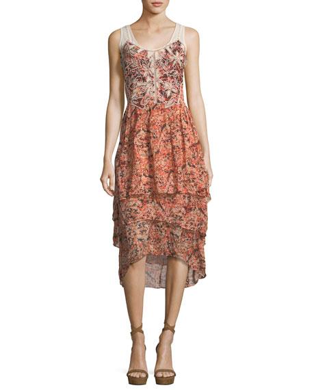 Kobi Halperin Jolene Floral-Print Layered High-Low Dress, Petal