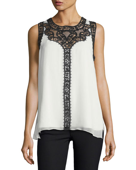 Kobi Halperin Abagail Sleeveless Lace-Trim Silk Blouse