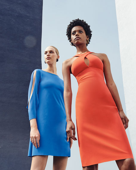 Tony Slit-Sleeve Cocktail Dress, Blue
