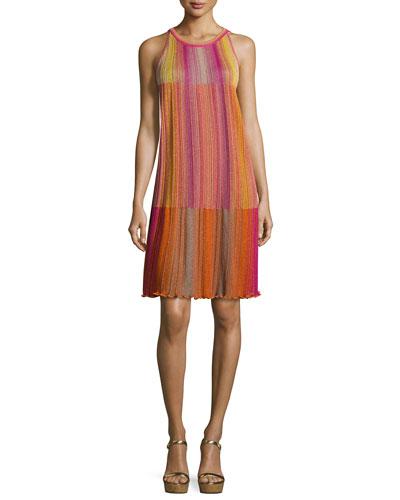 Sleeveless Plisse Trapeze Dress