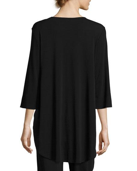 3/4-Sleeve Stretch Silk-Jersey Long Top, Black