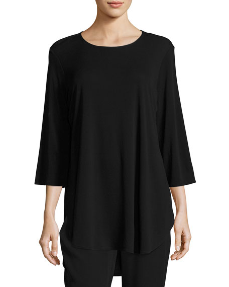 Eileen Fisher 3/4-Sleeve Stretch Silk-Jersey Long Top, Black