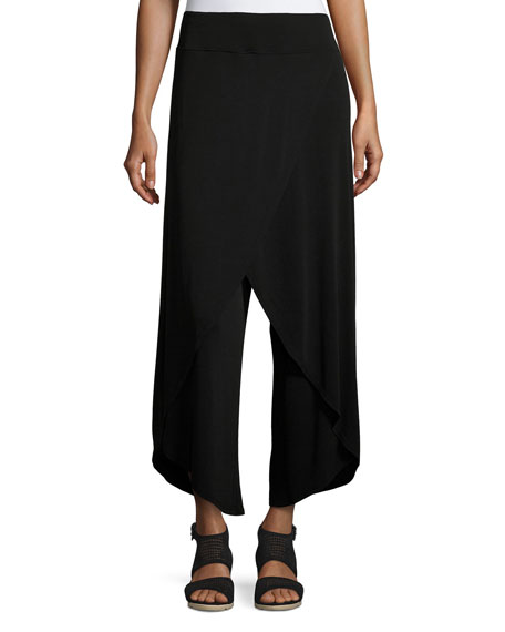 Eileen Fisher Stretch Silk-Jersey Faux-Wrap Wide-Leg Pants, Black