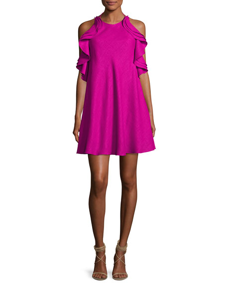 Badgley Mischka Tiered Ruffle Halter Cocktail Dress, Magenta
