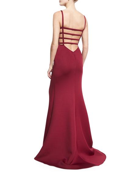 Sleeveless Scuba Mermaid Gown, Dark Red