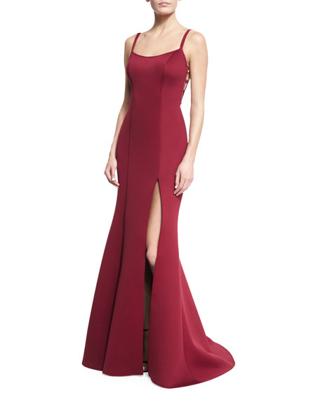 Jovani Sleeveless Scuba Mermaid Gown, Dark Red