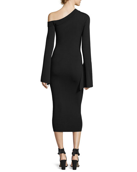 Aida Asymmetric Ponte Midi Dress, Black