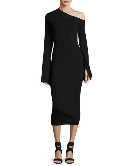 Aida Asymmetric Ponte Midi Dress, Black