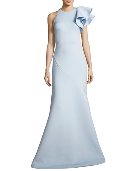Ruffle-Trim Scuba Mermaid Gown, Light Blue