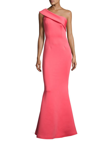 Jovani One-Shoulder Scuba Mermaid Gown, Watermelon