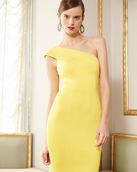 One-Shoulder Scuba Cocktail Dress, Yellow