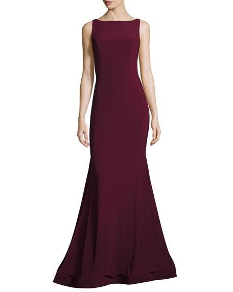 Jovani Backless Stretch Crepe Mermaid Gown, Burgundy