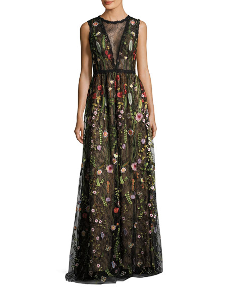Jovani Sleeveless Embroidered Floral Lace Gown, Multicolor