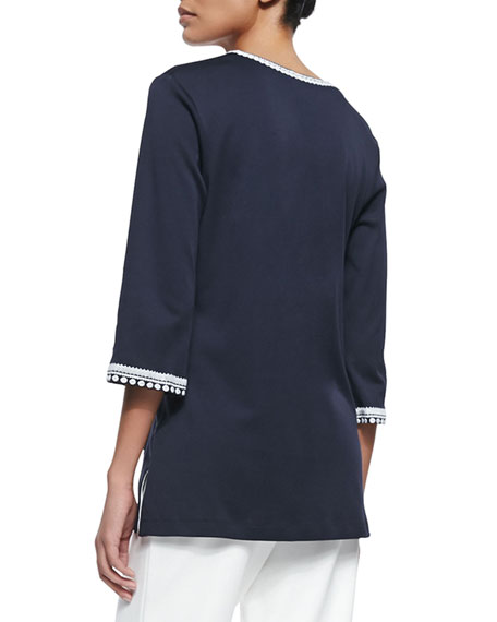 3/4-Sleeve Embroidered Tunic, Navy