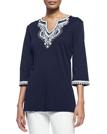 Joan Vass 3/4-Sleeve Embroidered Tunic, Navy