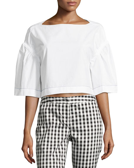 3.1 Phillip Lim Ruched Puff-Sleeve Crop Top