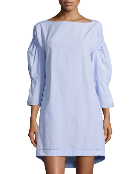 3.1 Phillip Lim Puff-Sleeve Gathered Shift Dress, Sky