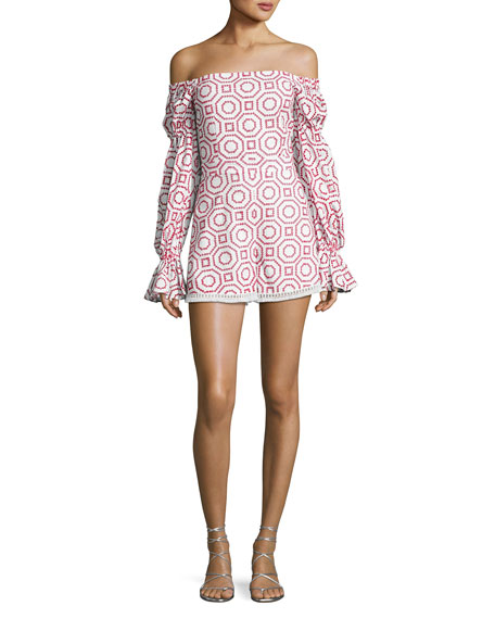 Alexis Kizzy Embroidered Off-Shoulder Romper, Red Pattern