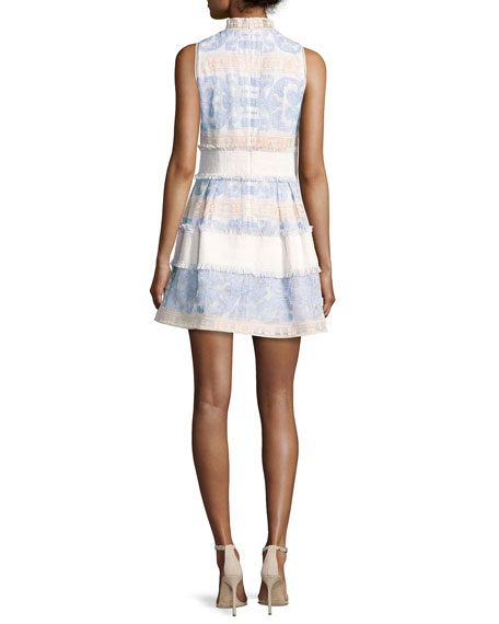 Image 2 of 2: Minika Embroidered Mock-Neck Dress, Blue Pattern