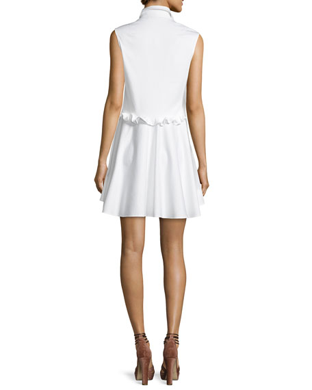 Huxley Ruffle Poplin Dress, White