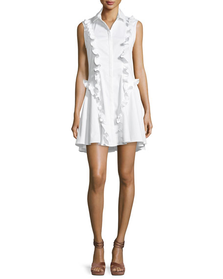 Alexis Huxley Ruffle Poplin Dress, White