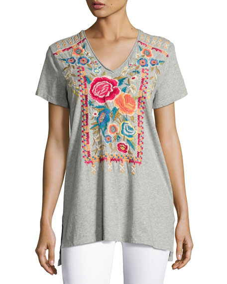 Lucia Short-Sleeve V-Neck Tee, Plus Size
