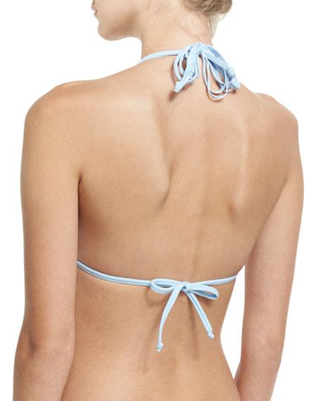 Isla Solid Braided Triangle Swim Top, Blue