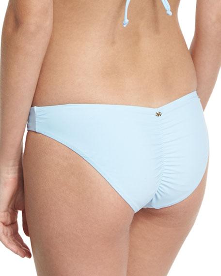 Solid Ruched Swim Bikini Bottom, Blue