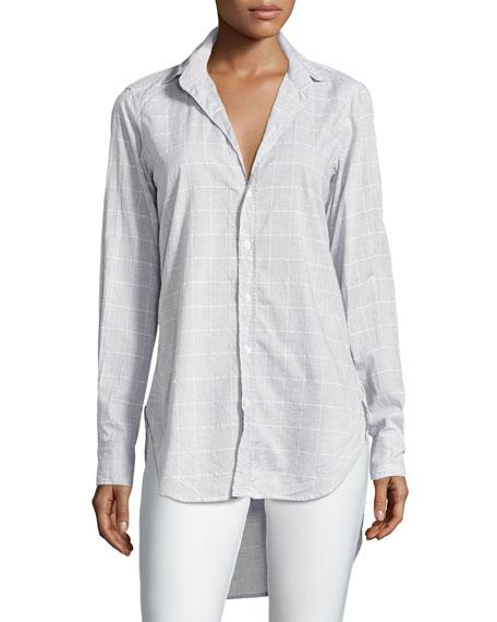 Frank & Eileen Grayson Grid-Print Italian Chambray Shirt,