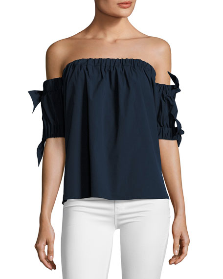 Milly Off-the-Shoulder Stretch-Poplin Bow Top, Navy