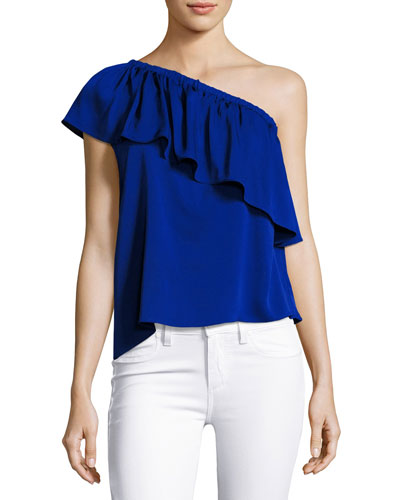 Ruffled One-Shoulder Stretch-Silk Top, Cobalt