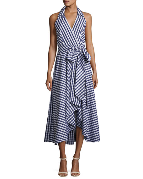 Milly Brooklyn Sleeveless Gingham Shirting Wrap Dress, Navy