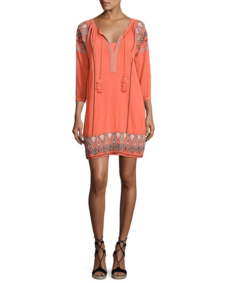 Joie Nieva Embroidered Tassel Dress, Orange