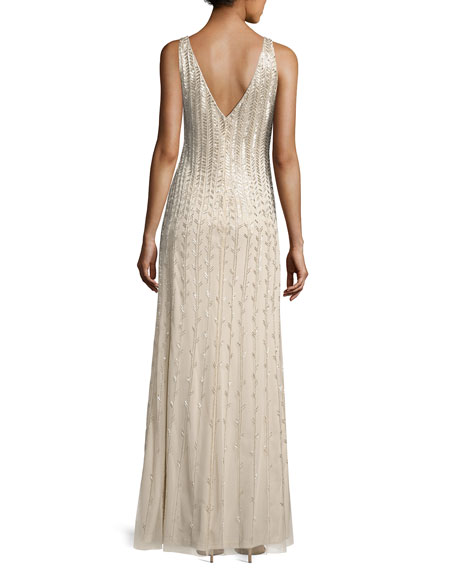 Sleeveless Beaded Chiffon Column Gown, Champagne