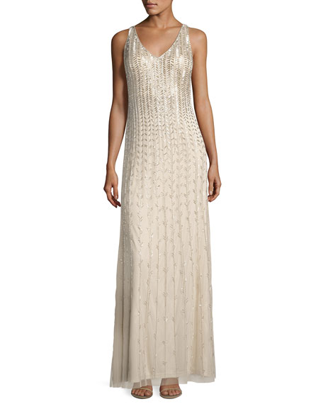 Aidan Mattox Sleeveless Beaded Chiffon Column Gown, Champagne